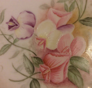 sweet pea plate with heavy gold