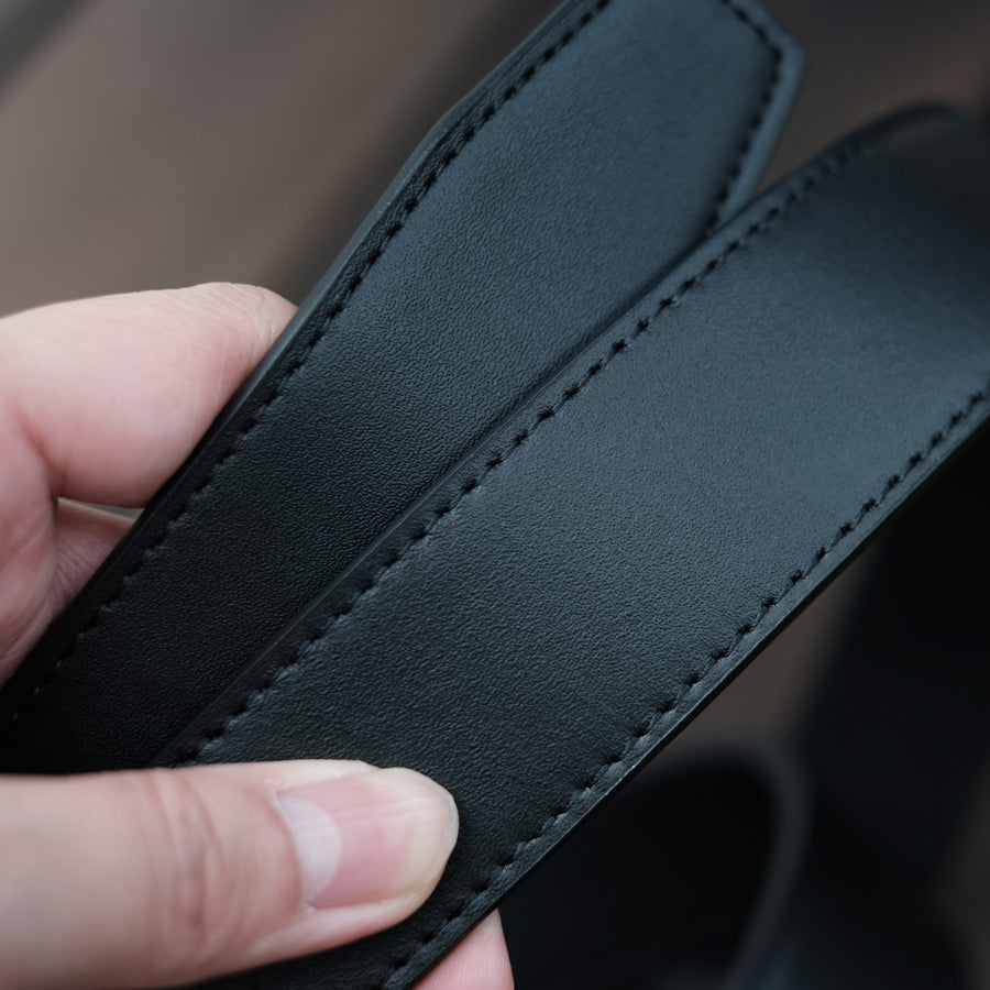 black full grain leather