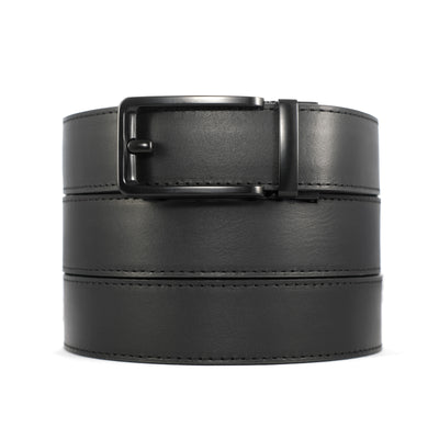 black buckle on black full grain leather