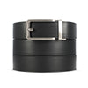 black full grain leather belt with silver buckle