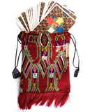 Red Tarot Card Bag with Embroidered Dragon