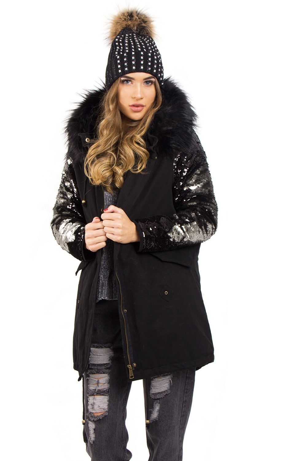 a99fbe3c1c2a Black Faux Fur Parka with Sequin Detail – House of Monica