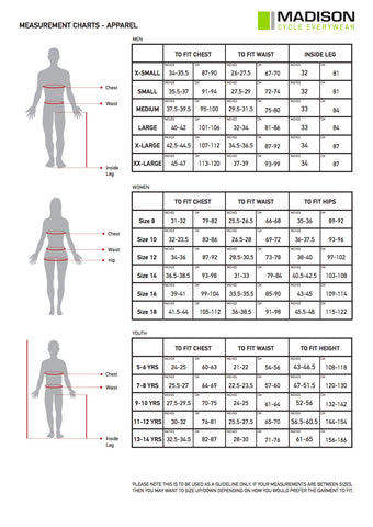 Madison Clothing Size Chart