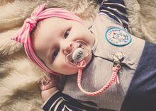 Pacifier Clip - Braided Leather - Engraved