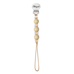 Beaded Pacifier Clip - Engraved - Peach
