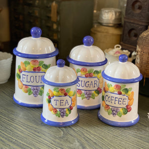 Blue and white canister set (4pc)