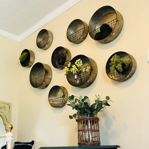 Round Galvanized Wall Planter