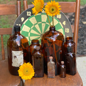 Vintage Amber Bottle Collection