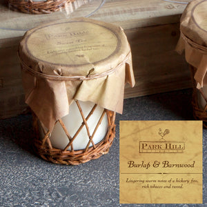 Burlap and Barnwood Candle