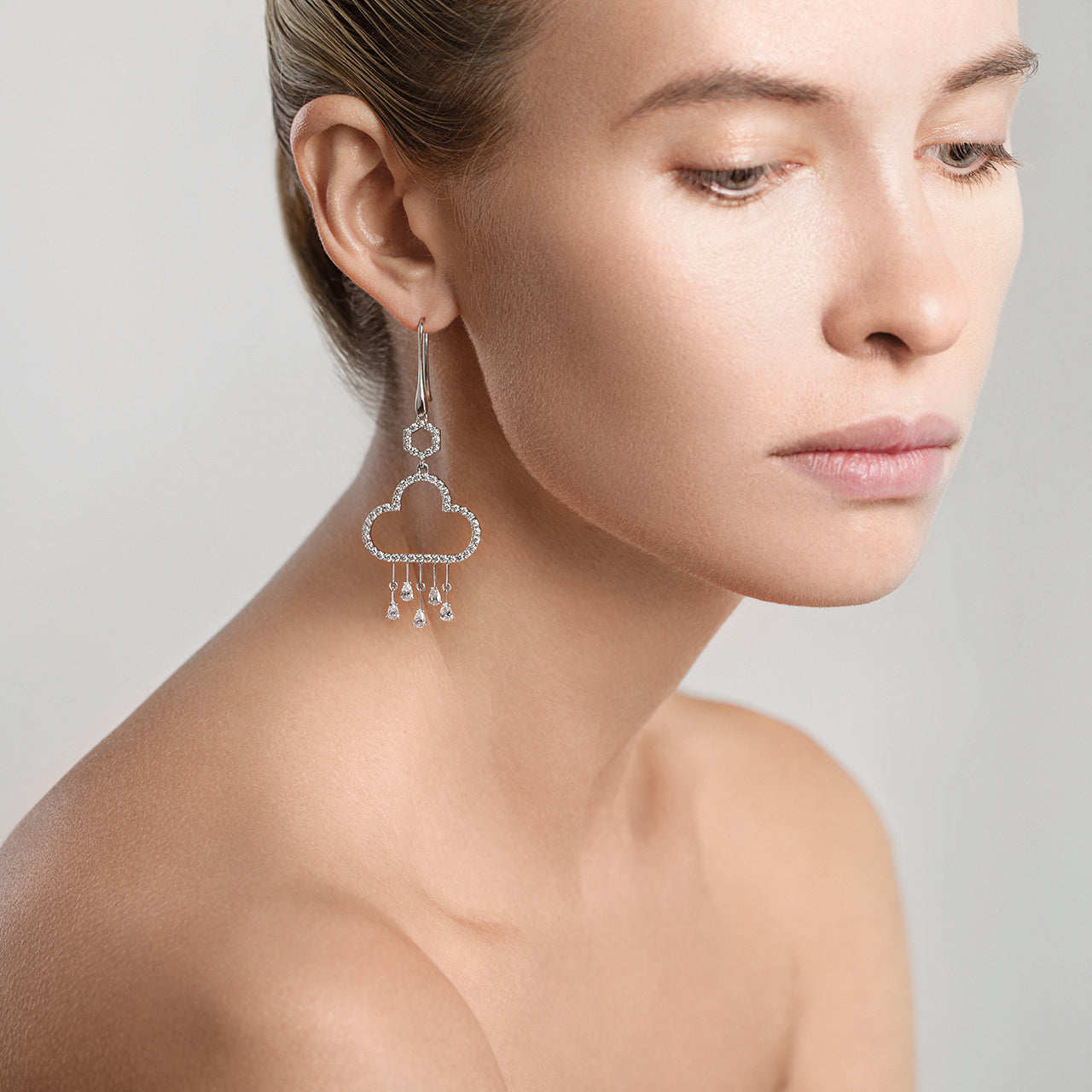 Aqua Earrings with Diamonds on Model