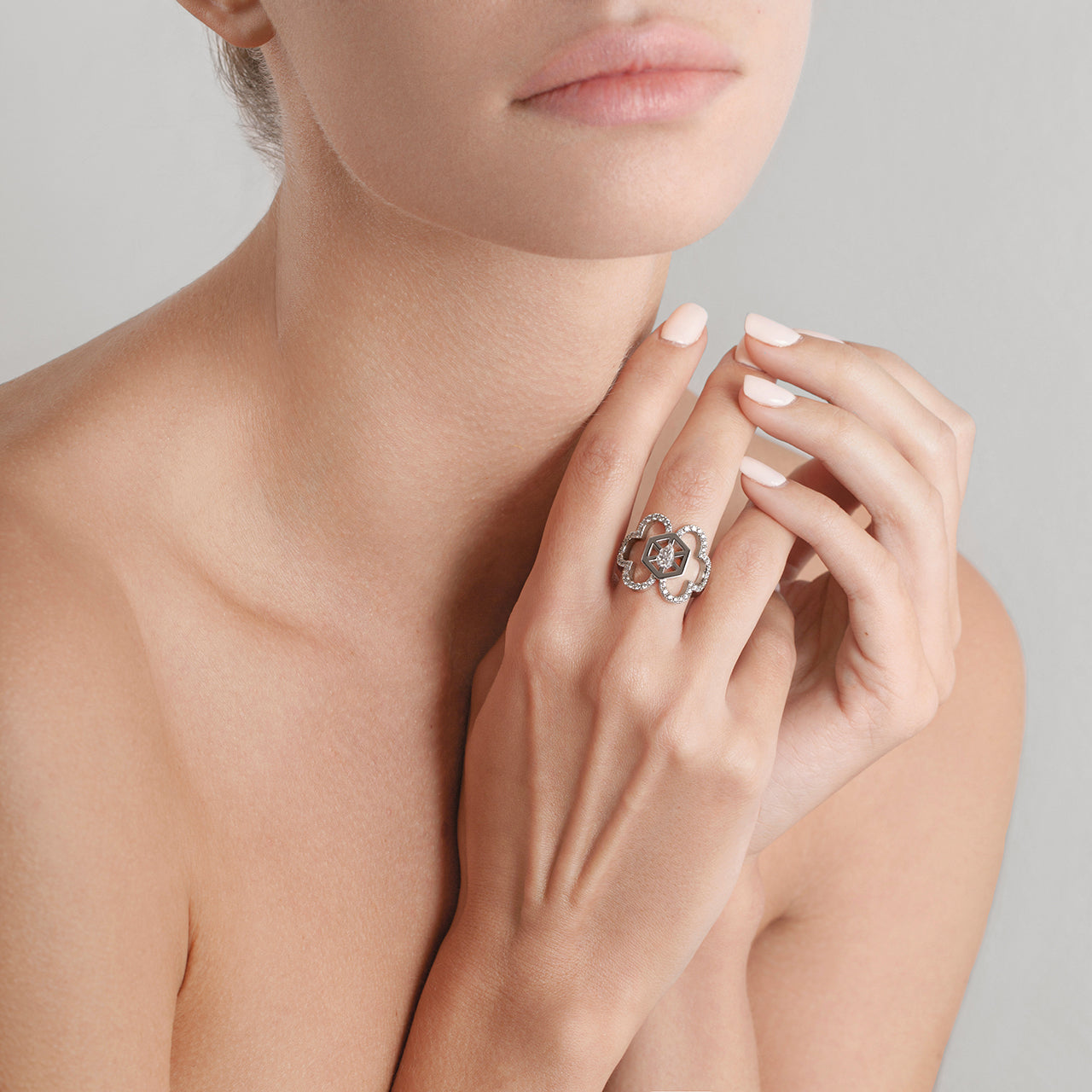Aqua Double Cloud Ring with Diamonds on Model