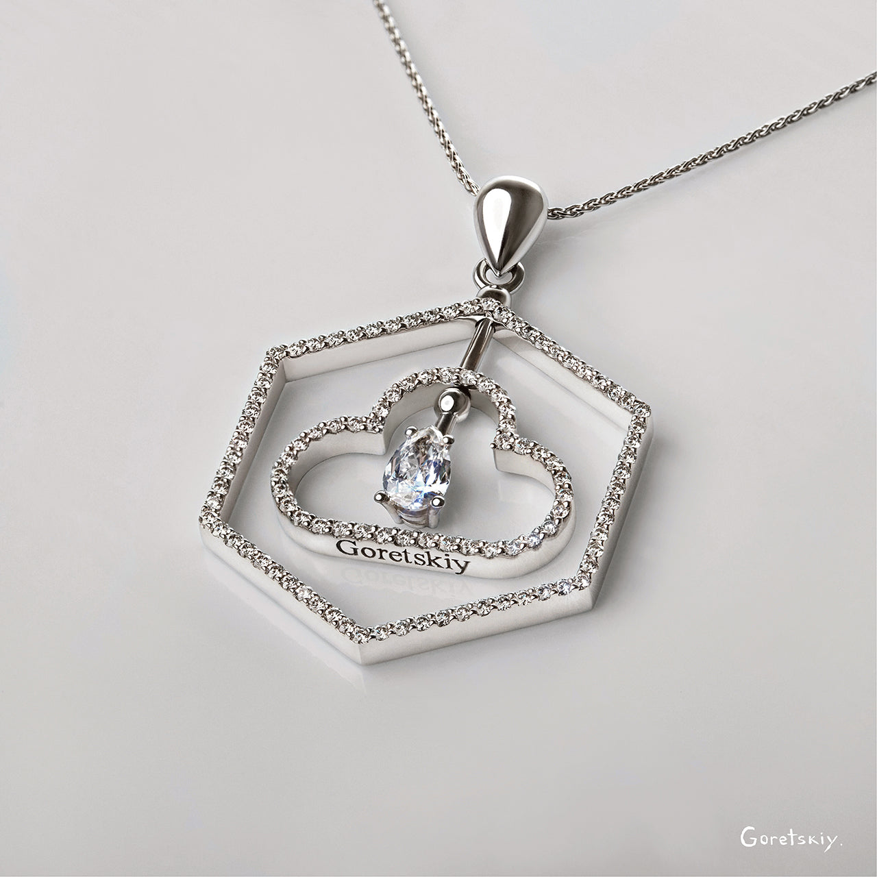 Aqua Pendant with Diamonds