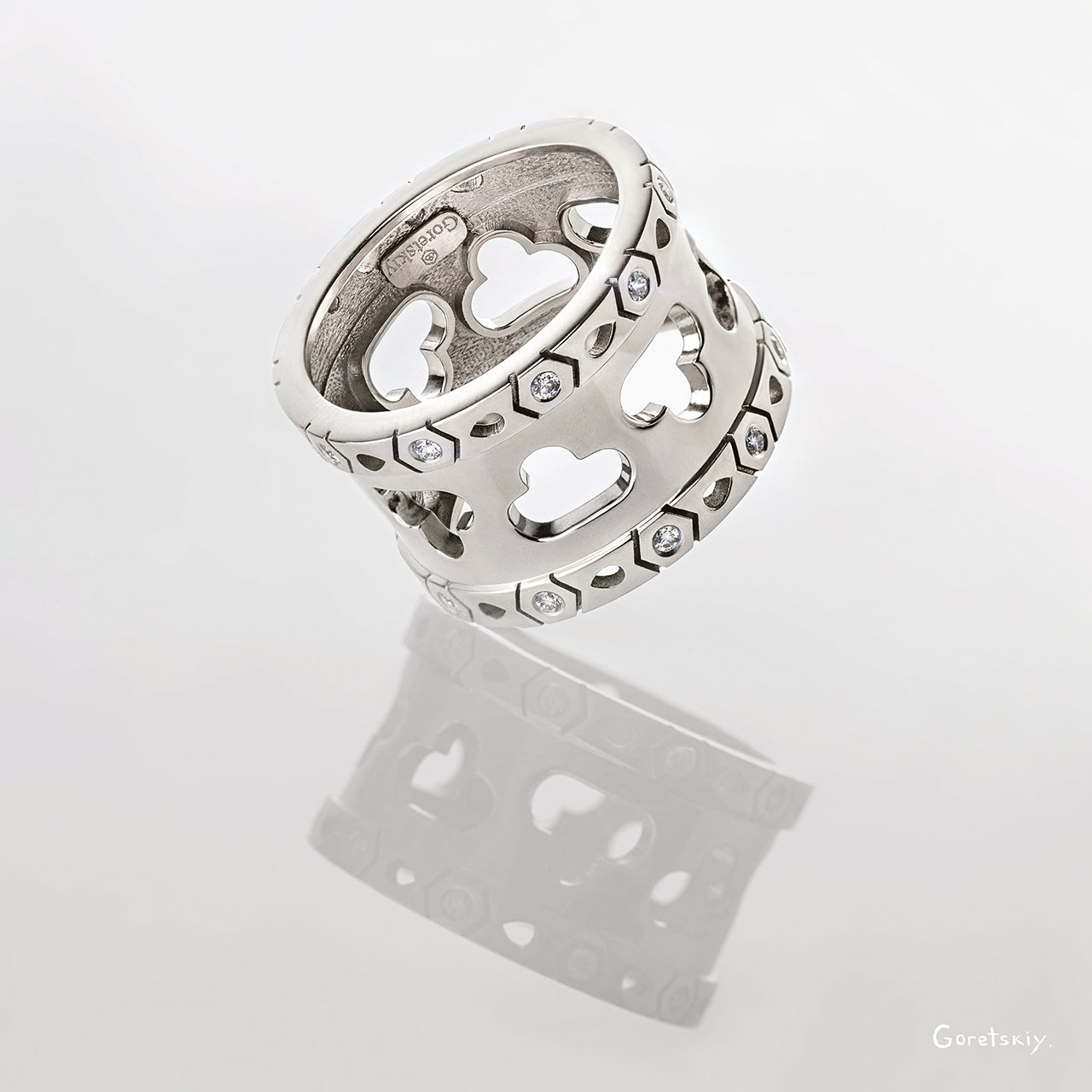 Aqua Multi Cloud Ring With Diamonds