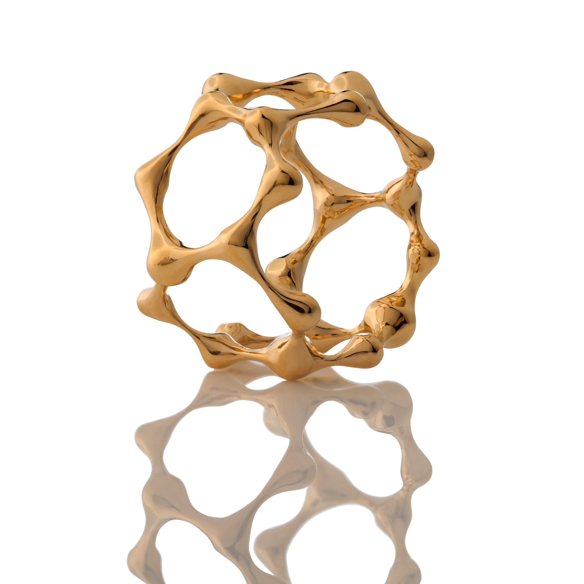 DNA 18K GOLD PLATED SILVER Atomic Hex Ring