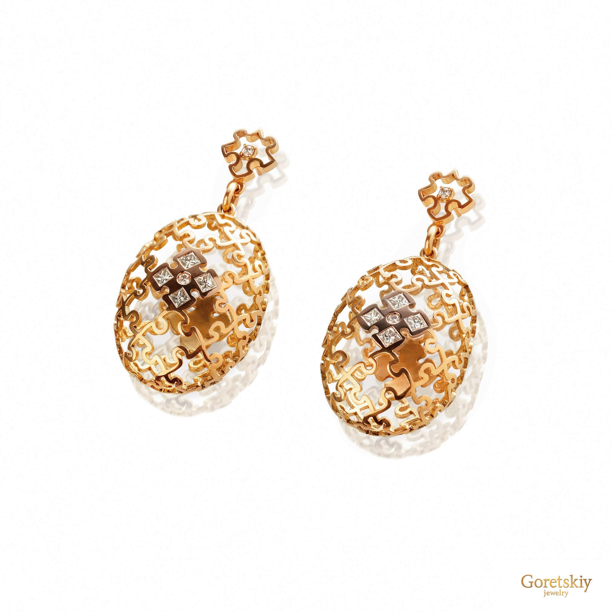 Puzzle Air Sphere Earrings with Diamonds