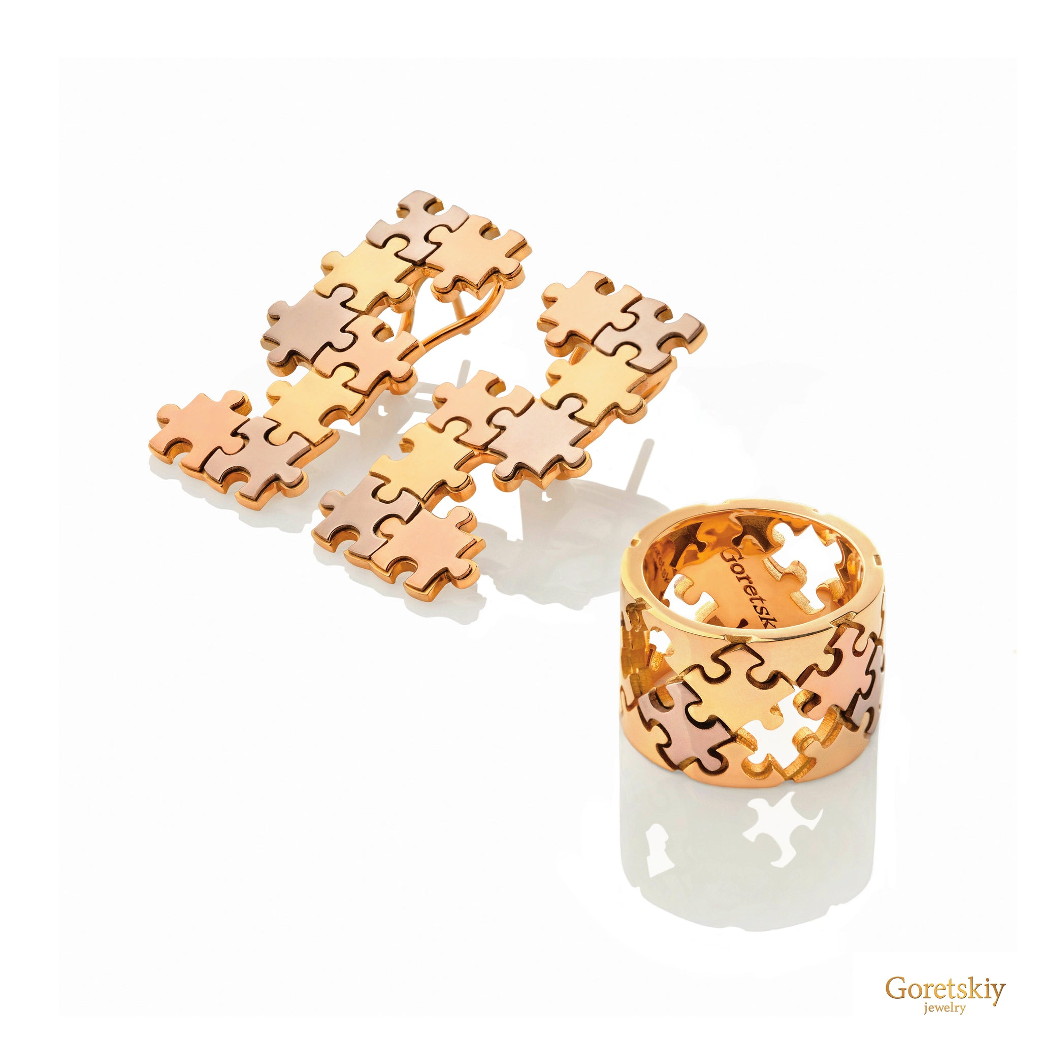 Puzzle ThreeColor Earrings