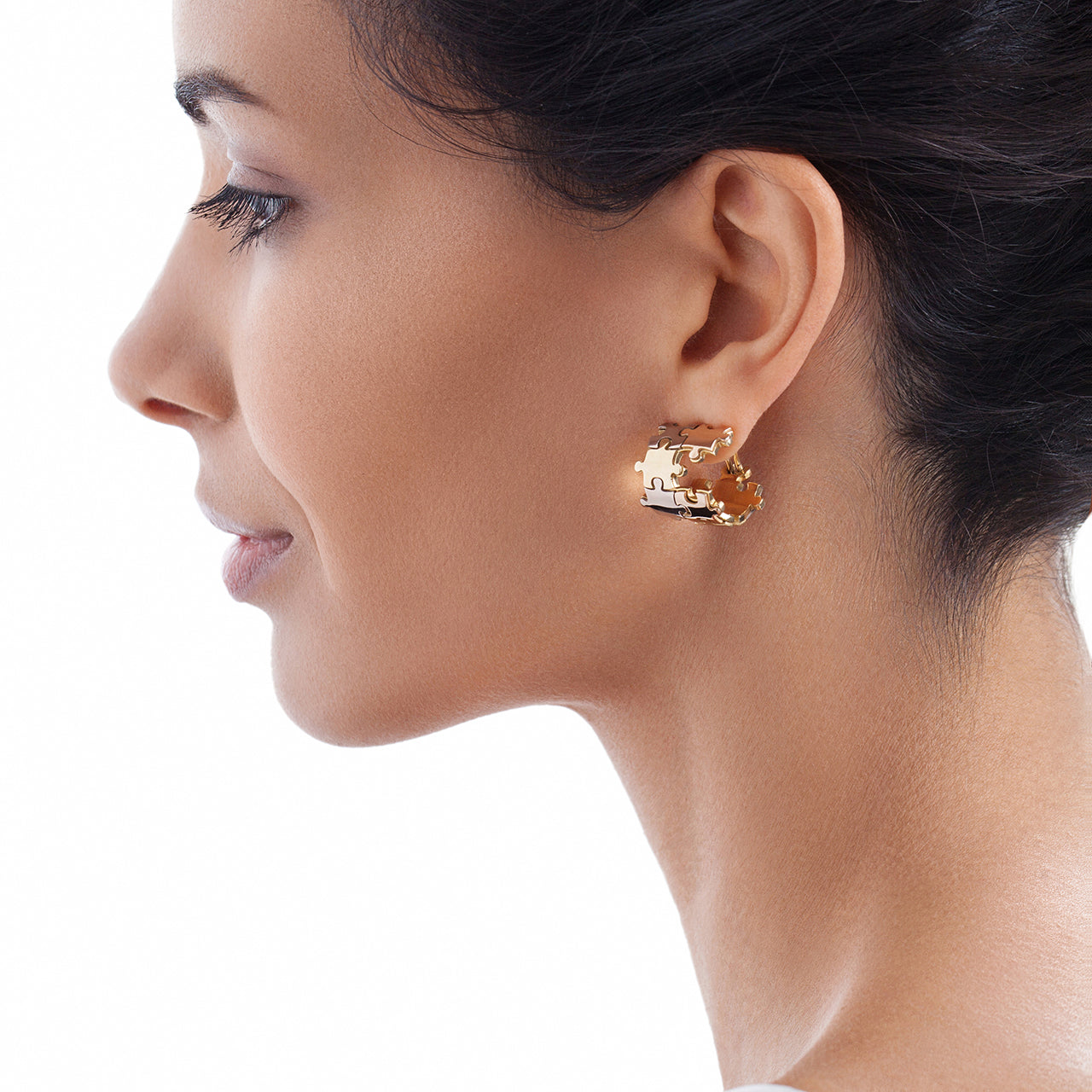 Puzzle Borderless ThreeColor Earrings on Model