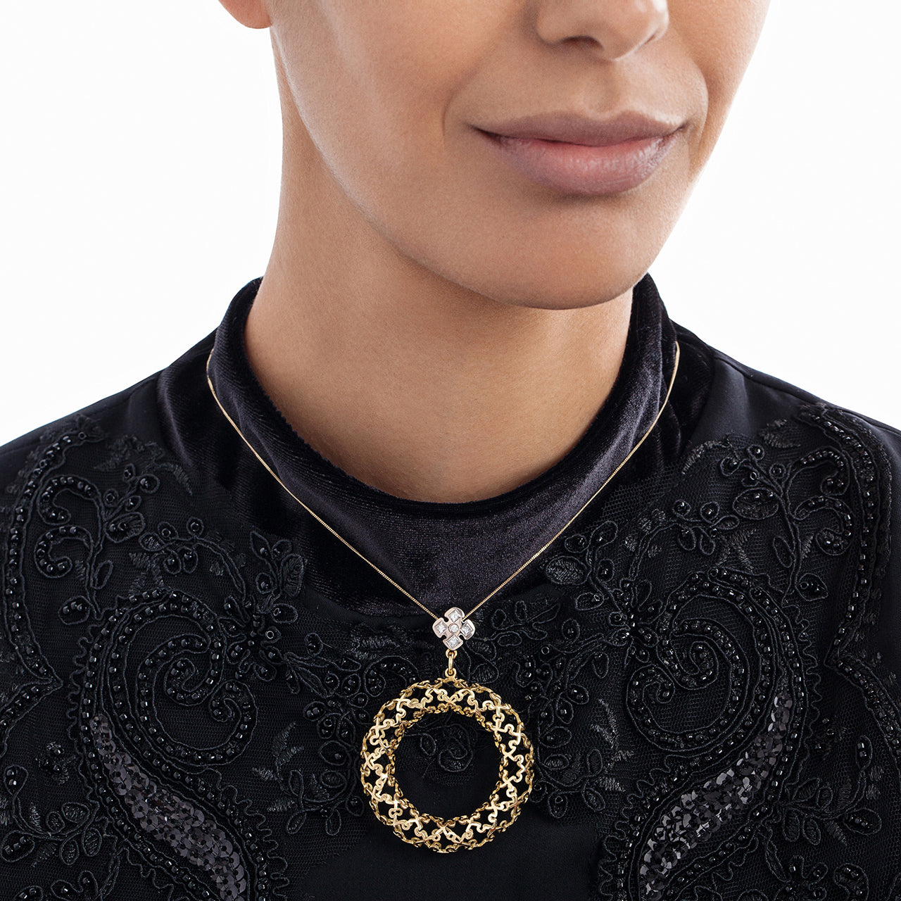 Puzzle Bagel Pendant on Model
