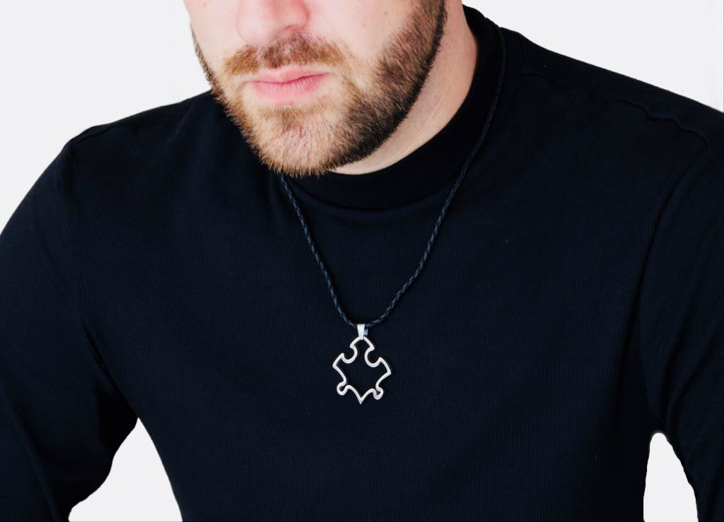 Crypto Puzzle Pendant on Model