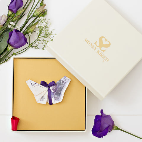 Beautiful £20 Butterfly gift personalised with Money Kissed Messages