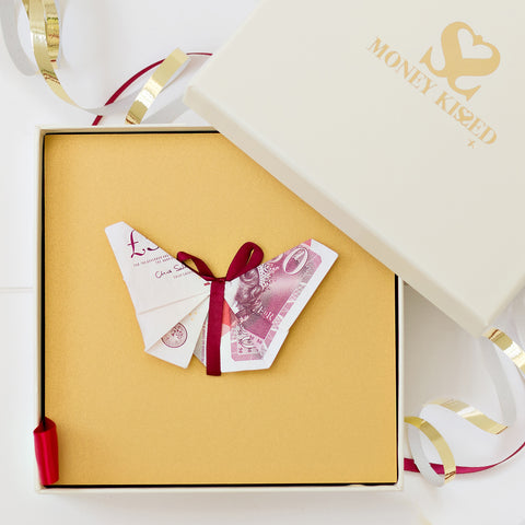 Beautiful £50 Butterfly gift personalised with Money Kissed Messages