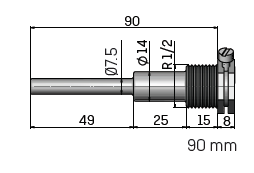 "Kamstrup Temperature Sensor Pocket, 1/2"" BSP, Length = 90mm."