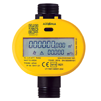 Axioma Qalcosonic W1 Hot Water Meter. 15mm, 1/2