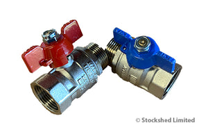 "Ball valve set 2 pieces 3/4"" (red/blue)"