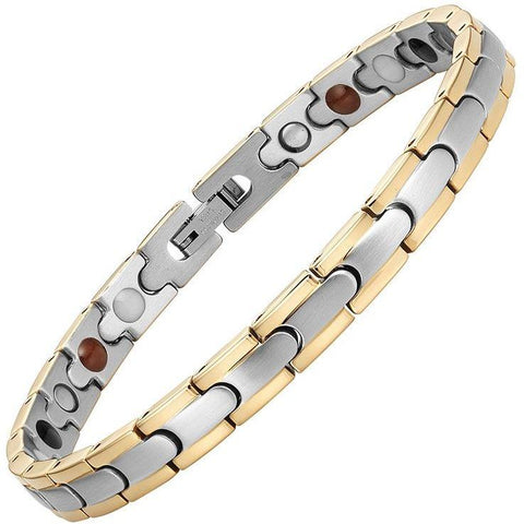 Magnetic Bracelet 2-Tone Silver & Gold Trim Stainless Steel Thin Magnetic Therapy Bracelet MagnetRX