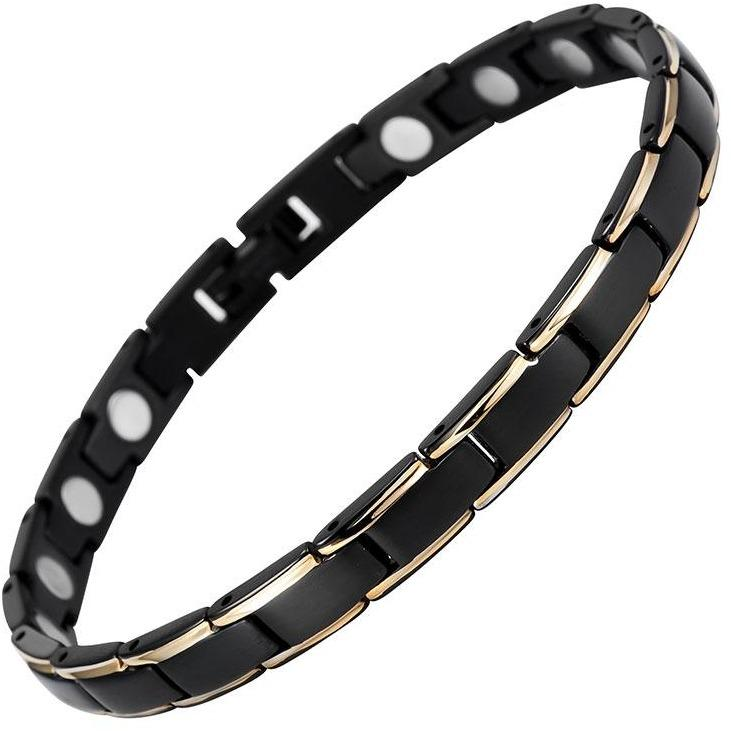 Magnetic Bracelet Black & Gold Trim Stainless Steel Thin Magnetic Therapy Bracelet MagnetRX