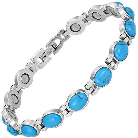 Magnetic Bracelet Blue Stone Magnetic Therapy Bracelet Silver Stainless Steel MagnetRX