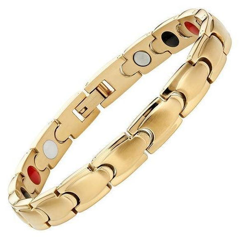 Magnetic Bracelet Classic Magnetic Therapy Bracelet 4in1 Gold Stainless Steel Chain MagnetRX