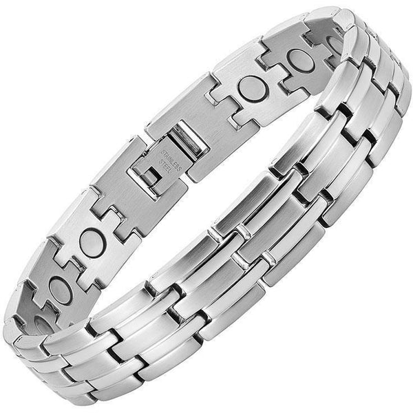 Magnetic Bracelet Classic Silver Magnetic Therapy Bracelet Stainless Steel Linked Chain MagnetRX