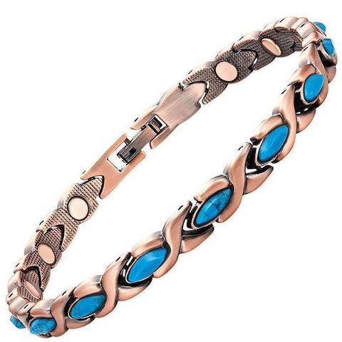 Magnetic Bracelet Copper Blue Stone XO Chain Magnetic Therapy Bracelet MagnetRX