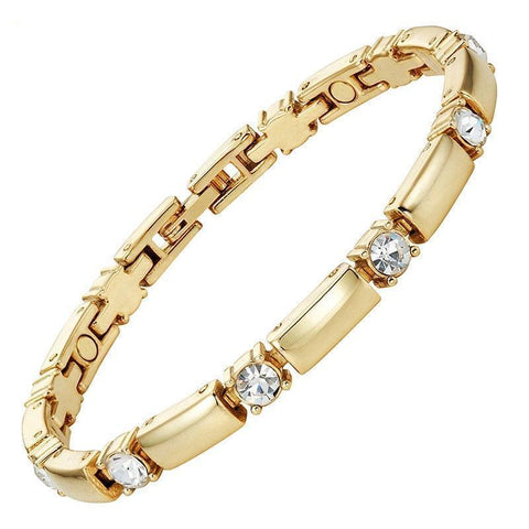 Magnetic Bracelet Gold Plated Magnetic Therapy Bracelet Crystal Slim Chain MagnetRX