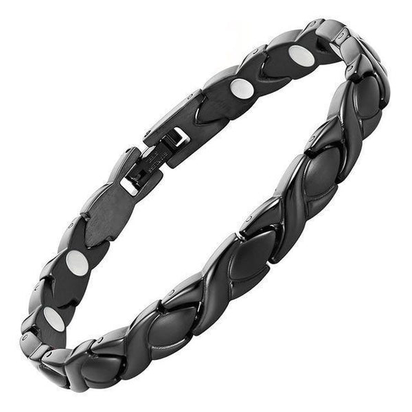 Magnetic Bracelet Magnetic Therapy Bracelet Black XO Chain Stainless Steel MagnetRX