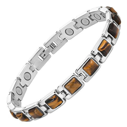 Magnetic Bracelet Magnetic Therapy Bracelet Brown Tiger Eye Stone Silver Chain MagnetRX