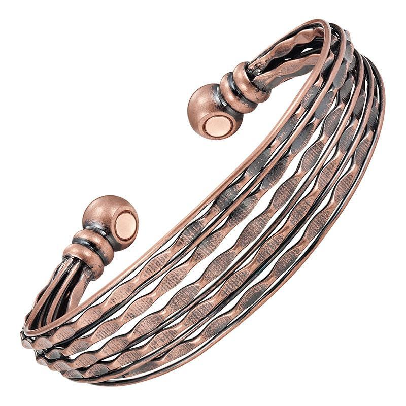 Magnetic Bracelet Magnetic Therapy Bracelet Vintage Copper Stacked Bangle Cuff MagnetRX