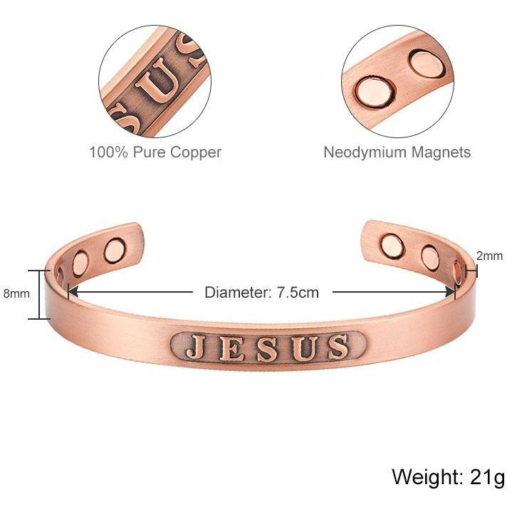 Magnetic Bracelet Pure Copper Jesus Magnetic Therapy Bangle Bracelet MagnetRX