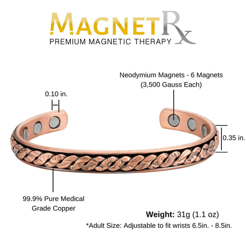 Magnetic Bracelet Rugged Chain Copper Magnetic Therapy Bracelet Bangle MagnetRX