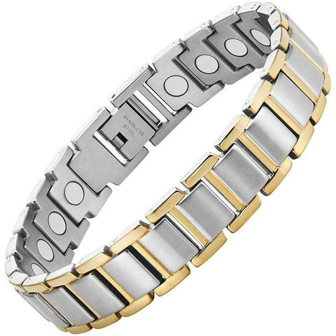 Magnetic Bracelet Silver & Gold Chain Stainless Steel Magnetic Therapy Bracelet MagnetRX