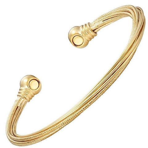 Magnetic Bracelet Twisted Gold Bangle Magnetic Therapy Cuff Bracelet MagnetRX