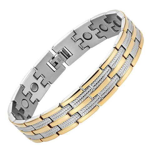 Magnetic Bracelet Wheat Chain Silver & Gold Stainless Steel Magnetic Therapy Bracelet MagnetRX