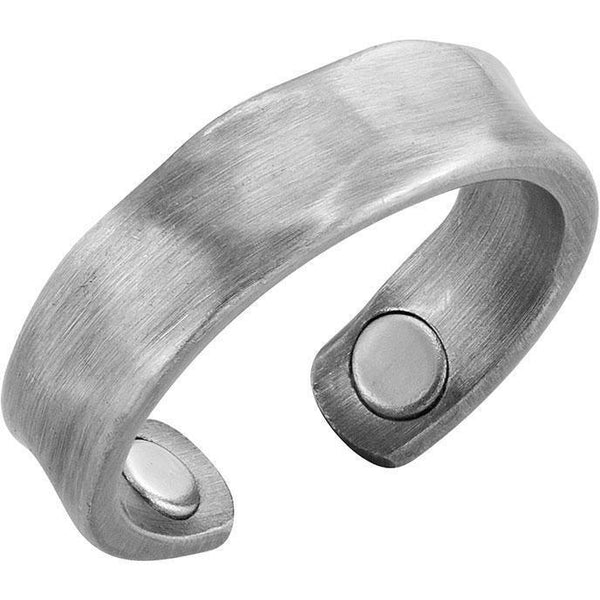 Magnetic Ring Brushed Silver Magnetic Therapy Resizable Ring MagnetRX