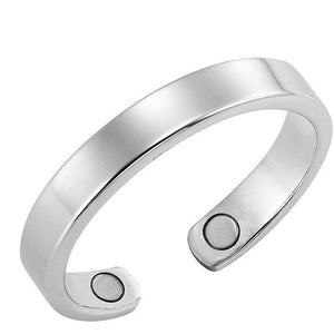 Magnetic Ring Polished Silver Thin Magnetic Therapy Resizable Ring MagnetRX