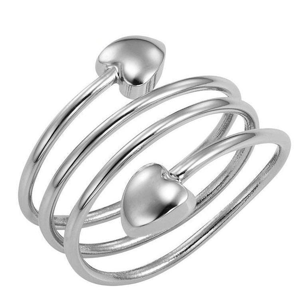 Magnetic Ring Silver Heart Wraparound Magnetic Therapy Resizable Ring MagnetRX