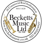 Logo for Becketts Music Ltd. Telephone 023 8022 4827. Music shop at 56 Commercial Road Southampton SO15 1GD. Established 1946
