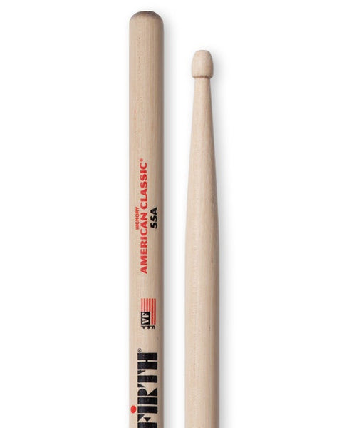 Vic Firth 55A Wooden Tip Drumsticks - Hickory