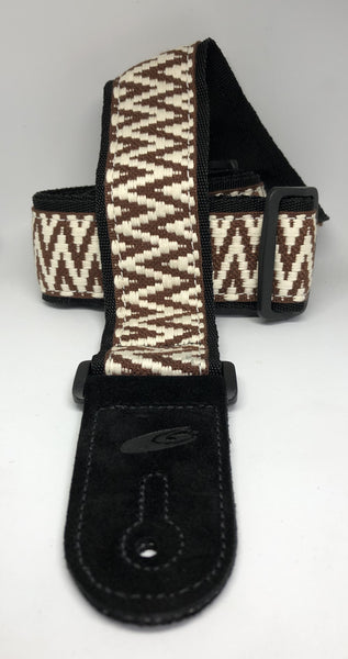 "LG 2"" Jacquard Warrior Stripe Brown Guitar Strap"