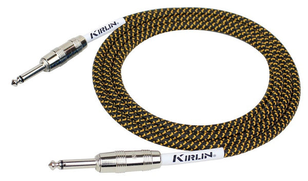 Kirlin 10ft / 3m Black / Yellow woven straight - straight jack cable